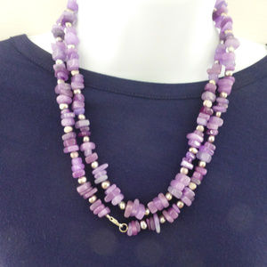 Handmade Jewelry - Amethyst Gemstone and Silver Necklace